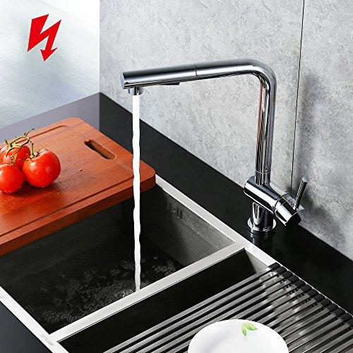 Homelody Chrom Niederdruckarmatur Wasserhahn herausziehbar Küchenarmatur mit Brause niederdruck armatur Spültisch Spültischarmatur Mischbatterie Einhebelmischer für Küche -