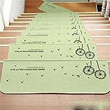TOYM- Satz von 10 Haushalt Treppenhaus Treppenauflage Matte Matte Rutschfeste Matten Treppen Kostenlose Selbstklebende Gummi-Matte (Farbe : Grün)