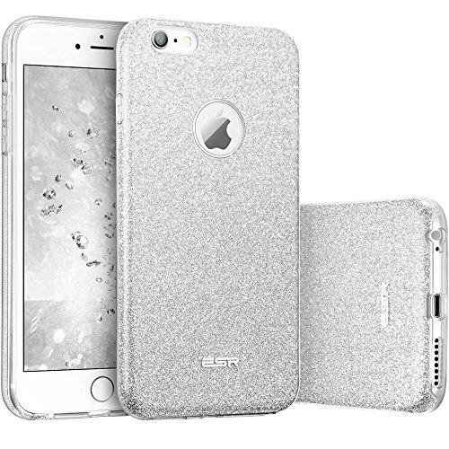 ESR iPhone 6 / 6S Hülle (4,7 Zoll), Glitzer Schutzhülle [Weiche TPU Abdeckung + Glitzer Papier + PC innere Schicht] [DREI in Einem] Hülle für iPhone 6/6S (Silber)