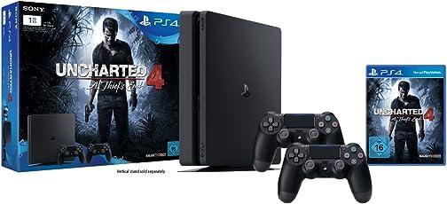 PlayStation 4 - Konsole (1TB, schwarz,slim) inkl. Uncharted 4 + 2 DualShock 4 Controller