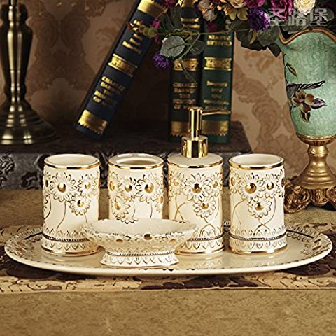 6tlg Keramik Bad-Accessoires-Set, Bad Set Seifenspender, Zahnbürstenhalter/Zahnputzbecher, Seifenschale weiß