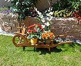 Sackkarren, Gartendeko Karre zum Bepflanzen, Blumentöpfe, Pflanzkübel, Pflanzkasten, Blumenkasten, Pflanzhilfe, Pflanzcontainer, Pflanztröge, Pflanzschale, Schubkarren 120 cm mit Holz - Deko HSOF-120-DUNKELBRAUN Blumentopf, Holz, dunkelbraun Teak Look Pflanzgefäß, Pflanztöpfe Holz, als historische Sackkarren usw.