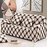 MONY Sofabezug für 2-Sitzer-Sofa, Stretch, elastisch, für Hunde und Couch-Schutz, Polyestergewebe, weicher Couch-Überzug mit Blumenmuster, Polyester, Grid, 2-Sitzer
