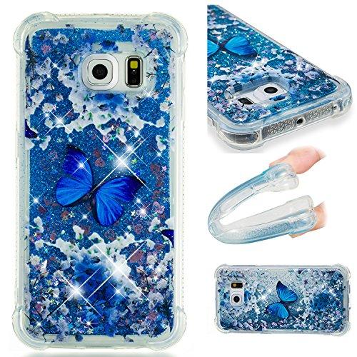Cozy Hut Samsung Galaxy S6 Edge Hülle, [Liquid Crystal] Soft Flex Silikon Bumper-Style Handyhülle Premium Kratzfest TPU Schutzhülle für Samsung Galaxy S6 Edge - Blauer Meeresschmetterling Edge Flex Hut