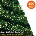 Cluster Lights 480 Warm White LED Fairy Lights ( 6m / 20ft Lit Length ) Multi-action Mains Operated Green Cable - Indoor & Outdoor