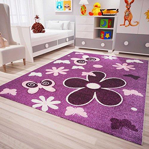 Vimoda infinity6566 Tappeto moderno per cameretta dei bambini, motivo: fiori/stelle, certificazione Ökotex, facile da pulire