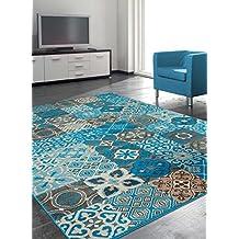 Alfombra de salón BC faian alfombra moderna diseño moderno, azul, 80 x 150 cm