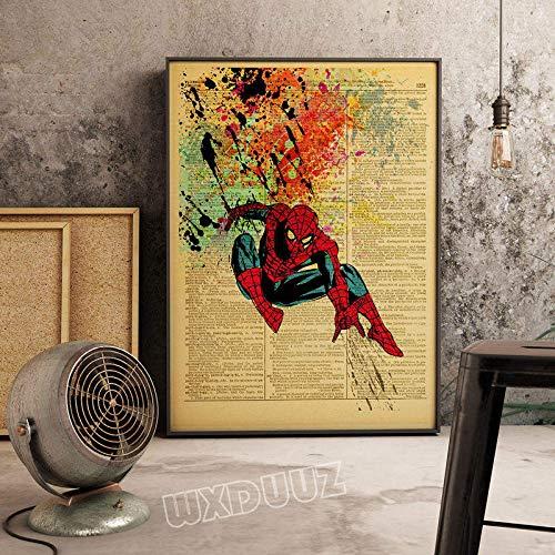 XWArtpic Vintage Klassische Superheld Supermacht Film Graffiti Cartoon Poster Bar Wandkunst Kindergarten Kinderzimmer Wohnkultur leinwand malerei 40 * 50 cm R