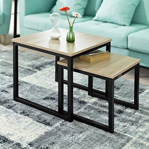 SoBuy FBT42-N 2er Set Couchtisch Beistelltisch 2-Teilig Satztisch Sofatisch Kaffeetisch Tisch-Set