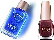 Lakmé Nail Color Remover, 27ml & Lakmé True Wear Nail Color, Reds and Maroons 401, 9 ml