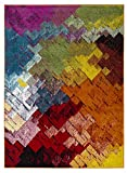 Hochwertiger Teppich LUXUS Modern Verschiedene Muster und Größen Bunt Schwarz Grün Rot Orange (80x150)