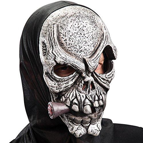 Máscara de goma Eva calavera gris con puro y capucha en bolsa con encabezado, color gris