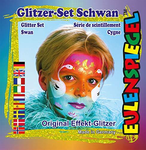 Eulenspiegel 908181 - Glitzer Set Schwan, 4 Farben - Set Schwan