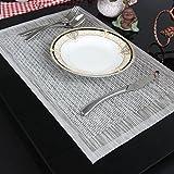YO FUN Weihnachtsgeschenk Abwaschbar Tischsets Schmutzabweisend Platzsets im 4er-Set Tischsets Platzmatten Rutschfest Waschbare Platz-Matten für küche Speisetisch 45x30cm, Silber