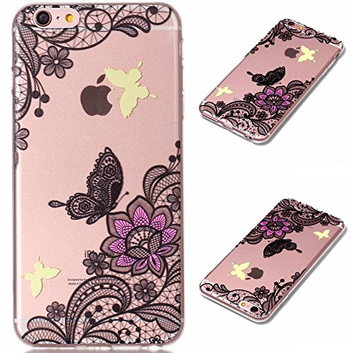 Chiaro Custodia pour iPhone 6S Plus,Transparent Cover pour iPhone 6 Plus,Leeook Creativo Carina Divertente Sottile Crystal Clear TPU Gel Silicone Custodia Amore Cuore Bruno Orso Design Morbida Flessib Noir Fleur Papillon