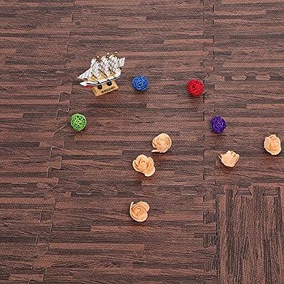 Schutzmatte Bodenschutzmatten 9 Stücke Puzzlematte 30*30*1cm Fitnessmatten für Studie Empfangshalle Schlafzimmer (Dunkles Holz)