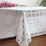 Rurales japonés Departamento de Silvicultura Crochet tablecloth-like Gamuza Sofá Mesa de café Pad para cama Cover, algodón, Blanco, 50*50