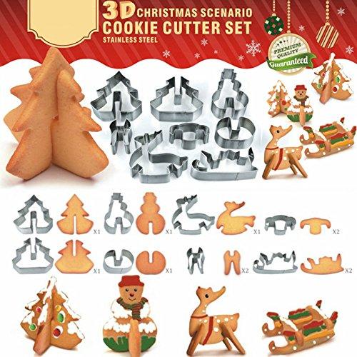 Yalulu Weihnachten Buchstaben Cookie Kuchen Cutter Set mit Tin Box Edelstahl Backen Werkzeug Küche DIY - Cutter Tin Set