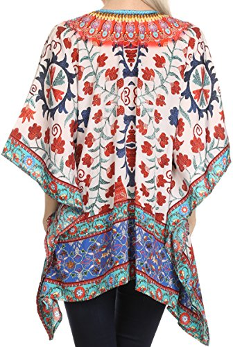 Sakkas Celeste court V-Neck Lace Up Jewel Drawstring Poncho Coverup Kaftan Top 17022-Blanc / Rouge