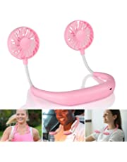 Inllex Hand Free Personal Fan, Headphone Design Wearable Portable USB Rechargeable Neckband Lazy Neck Hanging Style Dual Cooling Fan Mini Fan with 3 Speed Adjustable for Indoor Outdoor