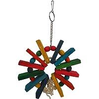 KSK Wooden Parrot Cubes Blocks Chewing Toys Parrot Knots Block Chew Toy Bells Bird Wood Hanging Toys Medium Large Birds…