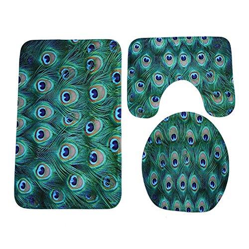 Deanyi Fashion Pfau Bad Teppich Set 3-teiliges Badematten WC-Deckelbezug Zähler Teppiche Haushaltsgegenstände