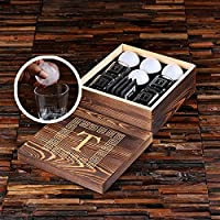 Grand Whisky Gift Set - Glasses, Slate Coasters and Ice Ball Makers in Engraved Wooden Gift Box - Great Gift for Men, Groomsmen, Father's Day