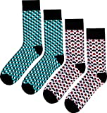 Fana & Fotter Herren Socken - 2er Pack: Checkered Turquoise & Cubicles Red (One Size (Herstellergröße: 41-46))