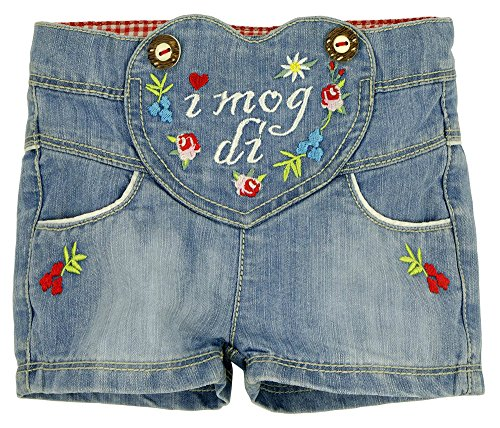 BONDI Jeansshort ´I mog di!´, light denim 86 Tracht Baby Mädchen Artikel-Nr.85815