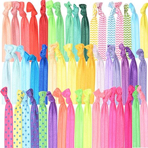 ULTIMATIVES FALTENFREIES HAARBAND GESCHENK / GESCHENKSET FÜR MÄDCHEN : 50 farbige, elastische, Haargummis, Zopfgummis, Haarbänder in tollen Farben und Drucken. Ideales Haarzubehör für Mädchen.