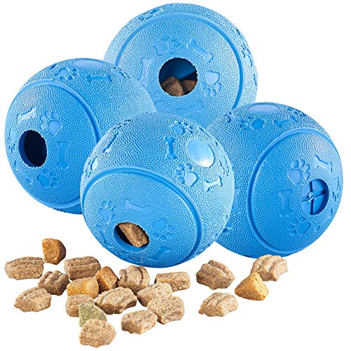 Sweetypet Snackball Katze: 4er-Set Hunde-Spielbälle, Naturkautschuk, Snack-Ausgabe, Ø 8 cm, blau (Hundespielball)