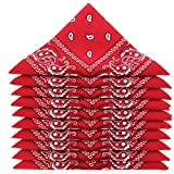 KARL LOVEN Bandanas 10er Pack 100% Baumwolle Paisley Halstuch Kopf Hals Schal (10er Pack, Rot)