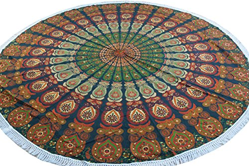 Guru-Shop Rundes Indisches Mandala Tuch, Tagesdecke, Picknickdecke, Stranddecke, Tischdecke - Grün/orange, Baumwolle, Bettüberwurf, Sofa Überwurf (Orange-blumen-tischdecke)