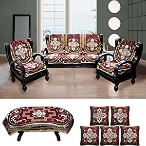 FURNISHING KINGDOM Floral Velvet Sofa Cover, Table Cover and Cushion Cover Set (Golden and Maroon)