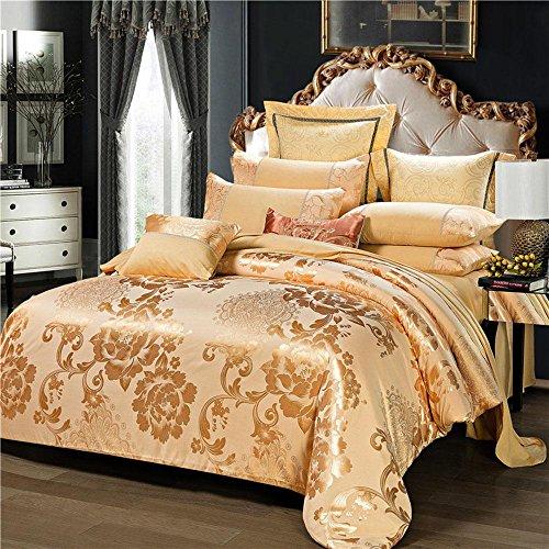 SHIQUNC Baumwolle europäischen Stil Duvet Set Seide Satin Jacquard bettwäsche Schlafzimmer Set 4 stücke Hochzeit Weihnachten Geschenk, C, 220x240cm -