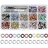 360 stuks oogjes metalen ogen gereedschapsset tule gereedschap 5 mm binnendiameter ogen met opbergdoos (12 kleuren)