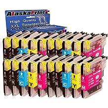 Alaskaprint 20x Cartucho de tinta Compatible Brother LC-985 / LC985 Alta capacidad Compatible con Brother Brother MFC-J265W MFC-J410 DCP-J125 DCP-J415W DCP-J515W DCP-J140W DCP-J315 MFC-J270W MFC-J280W DCP-J315W MFC-J220 MFC-J415W MFC-J515W DCP-145C DCP-163C DCP-165C DCP-167C DCP-185C DCP-195C DCP-197C DCP-365CN DCP-373CW DCP-375CW DCP-377CW DCP-383C DCP-385C DCP-387C con nuevos Chips (8 negro , 4 Cyan , 4 Magenta , 4 Gelb)