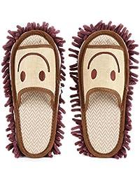 Zapatillas de Fregona de Microfibra Lavables Fregona de Limpieza Zapatillas de Casa Zapatos Cubierta para Baño Cocina Oficina(Marrón)