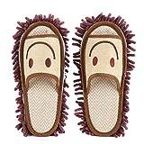 Mop Pantofole Morbido Pantofole Mocio Pulizia Mop Pantofole Lavabile in Microfibra Casa Ciabatte Pattine per Pulire il Pavimento Bagno, Ufficio e Cucina (CAMMELLO)