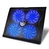 Gaming Laptop Cooling Pad, Vanble Portable 15-17,3 Zoll Chill Matte mit vier ruhigen 125mm blauen LED-Lüfter & Dual USB Ports & verstellbare Höheneinstellung, USB Powered, 100% Garantie, Schwarz