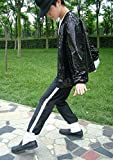 Michael Jackson Costume Veste Pantalon pour Adulte Enfant Billie Jean Jacket Danse Cosplay Noir (Adulte Veste, H: 175-185cm W:70-78kg)