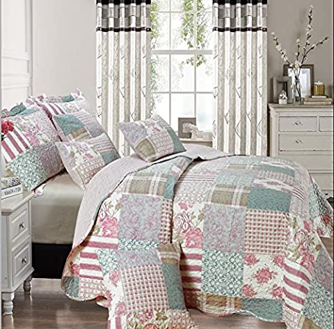 Beautiful Floral Vintage Patchwork Quilted Bedspread/Throw with 2 Pillow Shams (Blossom) (King)