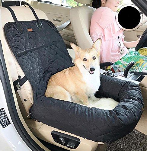 AnGe Haustier Hund Katze Auto Booster Sitz Tasche Träger, Funtional Pet Booster Bett Deluxe Hund Pet Auto Sitzbezug Bed & Lounge , black