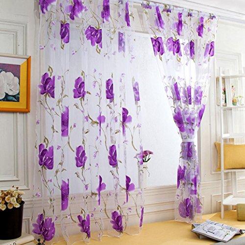 SUCES Sheer Vorhang mit Stangen Aufhängung transparent Gardine1 Stücke Gaze paarig schals Fensterschal Vorhänge 200cm x 100cm (L x W),Gardinen Vorhang für Wohnzimmer Schlafzimmer (purple)
