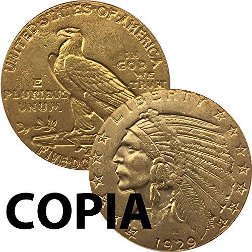 Kopieren Münze Kollektion 5Dollar 1929U.S.A. Adler Reich USA Indianer (Währung Indische)