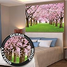Póster Cerezo Mural Decoración Primavera Paisaje de primavera Avenida Flores Sakura Bloom Flores Flor del cerezo   foto póster mural imagen deco pared by GREAT ART (140 x 100 cm)
