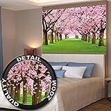 Affiche de fleurs de cerisier du printemps peinture murale de décoration du paysage naturel avenue de fleurs Sakura Bloom Fleurs de cerisier | mur deco Poster mural Image by GREAT ART (140 x 100 cm)...