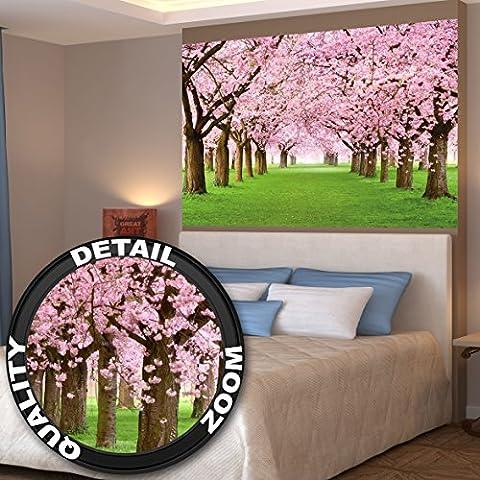Affiche de fleurs de cerisier du printemps peinture murale de décoration du paysage naturel avenue de fleurs Sakura Bloom Fleurs de cerisier | mur deco Poster mural Image by GREAT ART (140 x 100 cm)