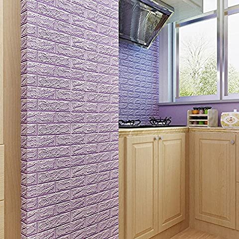 Indexp 3D DIY PE Foam Tile Brick Stone Wallpaper Embossed Noise Reduction Wall Decoration (23.6x23.6in, Purple)
