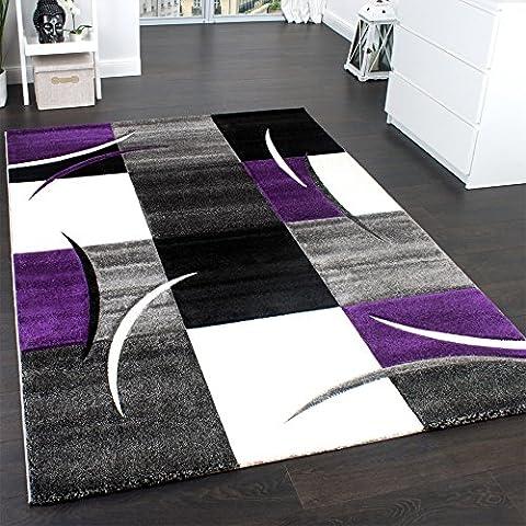 Alfombra De Diseño Perfilado - A Cuadros En Lila Gris Negro, Grösse:160x230 cm